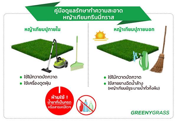 วิธีทำความสะอาดสนามหญ้าเทียม