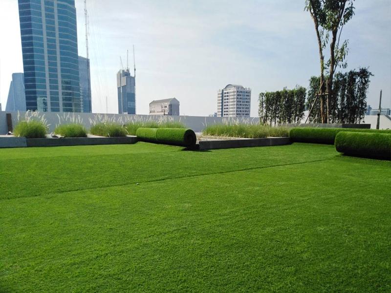 จัดสวนหญ้าเทียมดาดฟ้า หอพักนักศึกษาพยาบาล สภากาชาดไทย