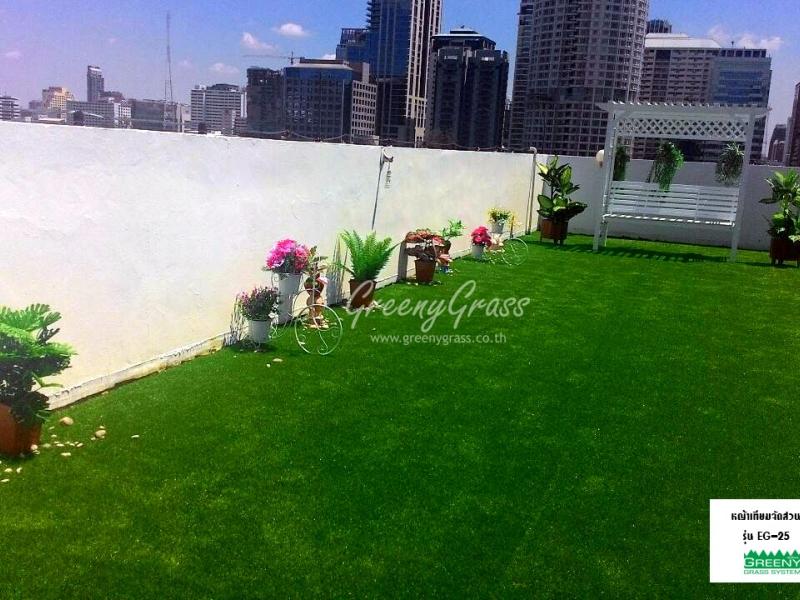 จัดสวนหญ้าเทียม บนดาดฟ้าบ้าน ลุมพินี