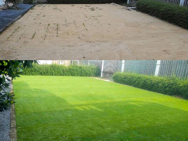 หญ้าเทียมปูพื้นสลับสี รอบบ้าน ลาดพร้าว