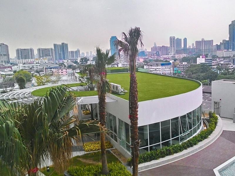 จัดสวนหญ้าเทียม ดาดฟ้าคอนโด ศุภาลัยพริมา ริว่า พระราม3