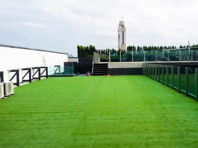 จัดสวนหญ้าเทียมคอนโด Capital ดินแดง