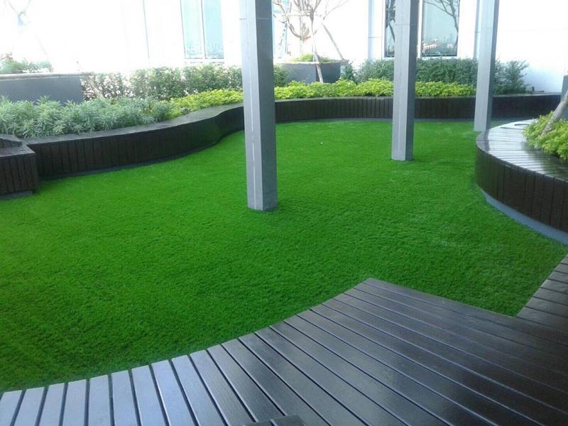 จัดสวนหญ้าเทียมบนอาคาร M Tower