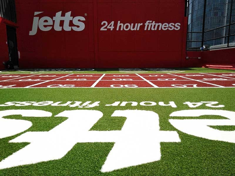 พื้นฟิตเนสหญ้าเทียม Jetts Fitness สาขาบางจาก