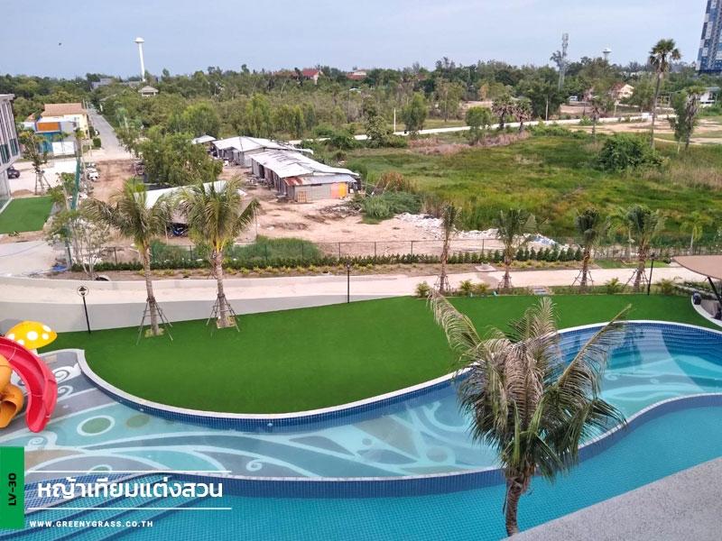 ติดตั้งหญ้าเทียมรอบสระว่ายน้ำ Elmas Cha-Am Design Hotel