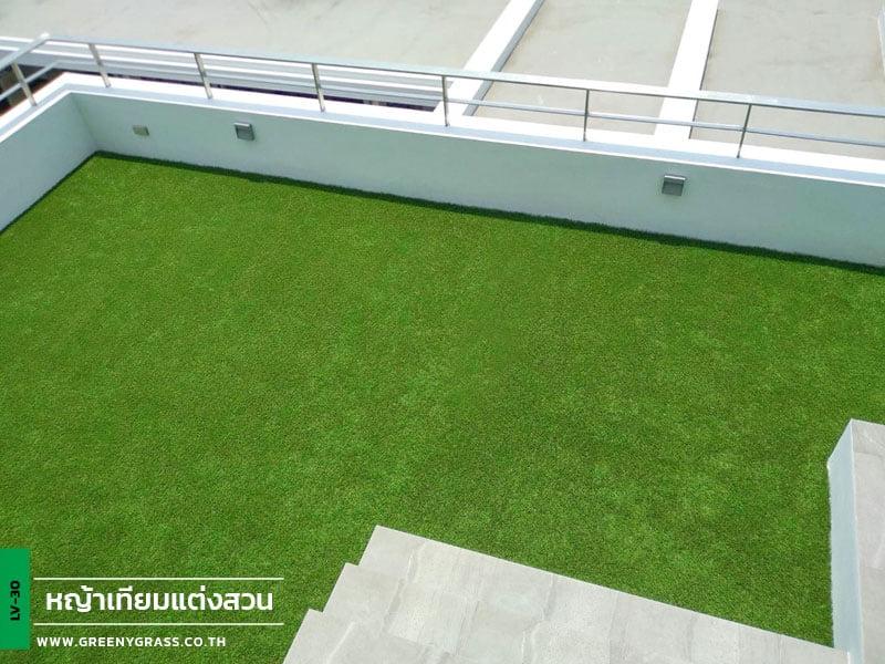 ติดตั้งหญ้าเทียมระเบียง บ้านพักย่านซอยอิสรภาพ 33